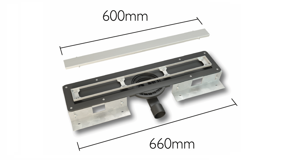 linear wet room drain 600mm grill length