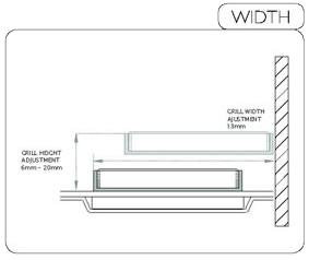 wet room grill width & adjustment