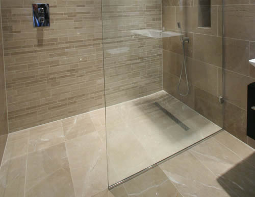 Preformed wet room floor linear drainage system ccl for Shower room flooring ideas