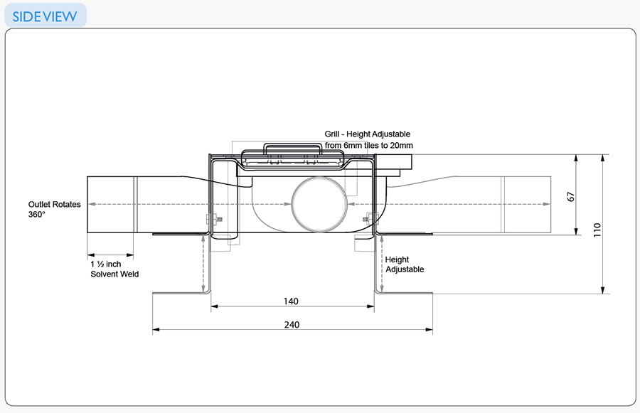 Linear Screed Drains Line Drawings