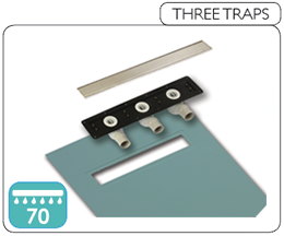 Wet room base component with three traps