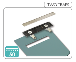 Wet room base component with two traps