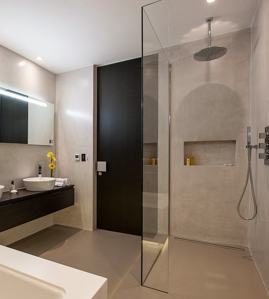 Open plan wet room with large accessible shower