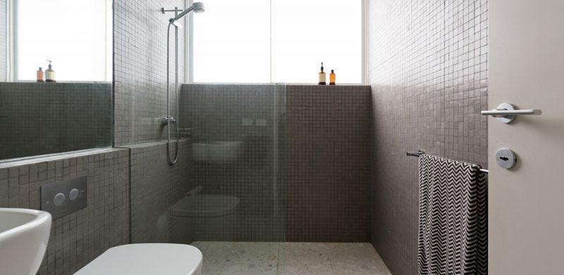 a walk-in shower