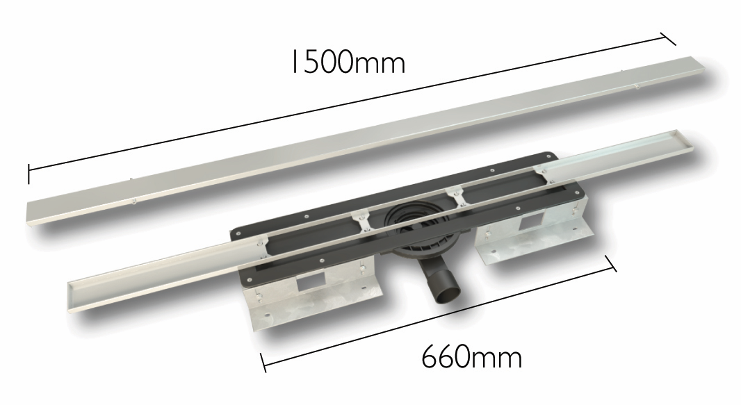 linear wet room drain 1500mm grill length