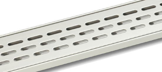 Slotted linear shower drain grill finish