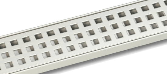 Square linear shower drain grill finish