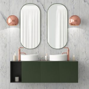 rose gold /copper taps in bathroom