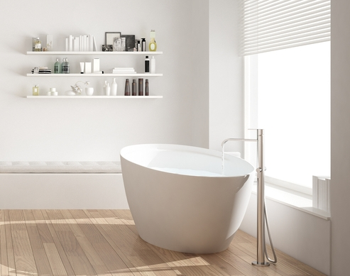 Small bathroom with featured shelving