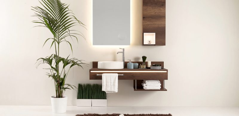 Small bathroom with floating sink and cabinet